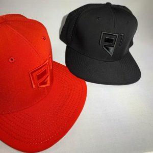 black hat red hat front